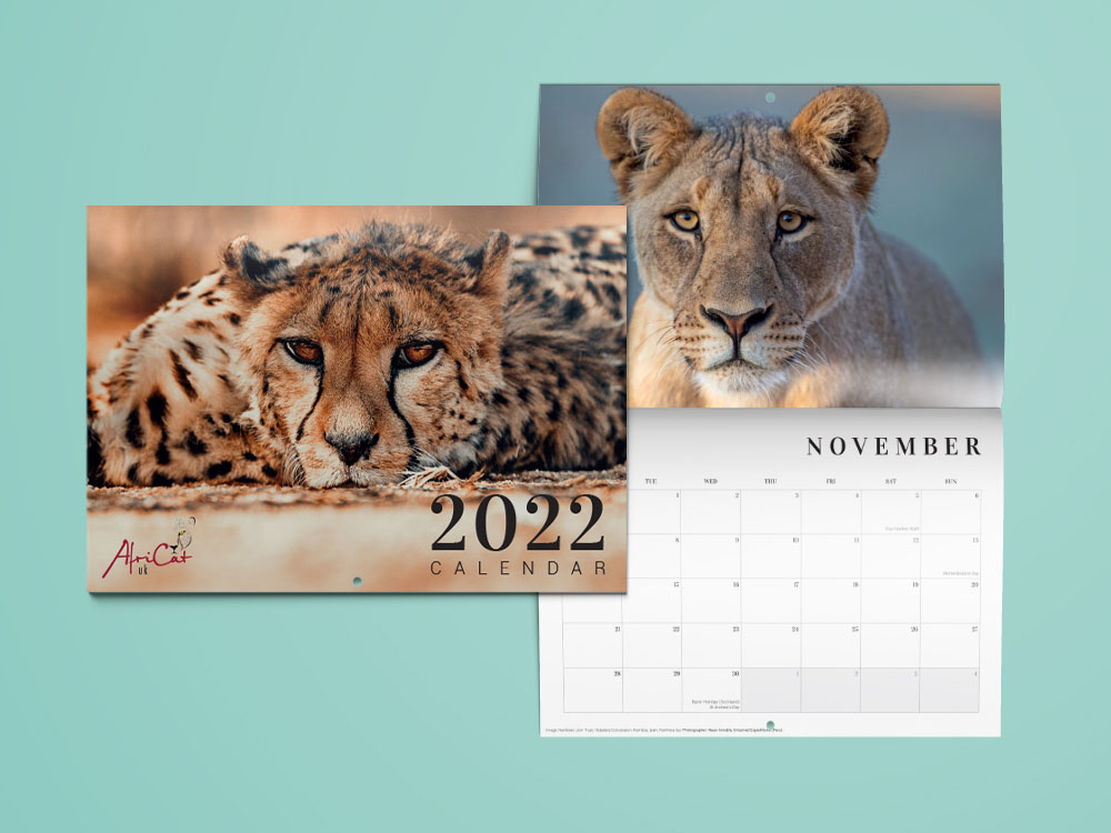 front cover and layout of the new 2022 AfriCat UK Calendar